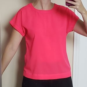 Banana Republic Neon Crepe Short Sleeve Blouse